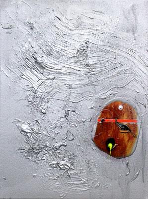 MOMENT MEIN RÜCKRAD WIRD GERADE ERSTELLT, 2016, mixed media on canvas, 40x30cm