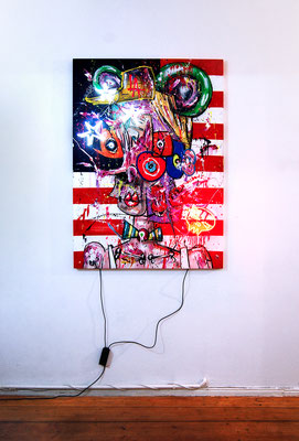 TO HELL AND BACK, 2018, mixed media and neon light on wood, 140x100x5cm