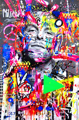 MARC JUNG X MARCO FISCHER // BONEZ MC 187 STRASSENBANDEBONEZ THUG & HARMONY, 2019, mixed media on canvas, 115x75cm