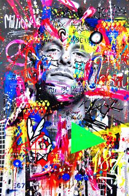 MARC JUNG X MARCO FISCHER // BONEZ MC 187 STRASSENBANDE BONEZ THUG & HARMONY, 2019, mixed media on canvas, 115x75cm