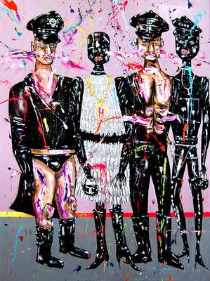 DIE WIRTSCHAFTSWEISEN, 2018, mixed media on canvas, 200x150cm