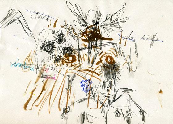 DIE ARBEITET JETZT IM VIP BEREICH, 2011, mixed media on paper, 21x29,7cm