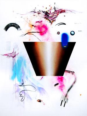 MAN SOLLTE DEN TUNESIERN GANZ ITALIEN GEBEN DANN HABEN DIE AUCH ENDLICH MAL DEMOKRATIE, 2015, mixed media on canvas, 200x150cm