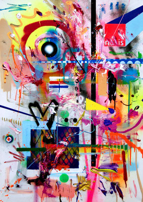 EMBRACE THE CHAOS, 2016, mixed media on canvas, 100x70cm