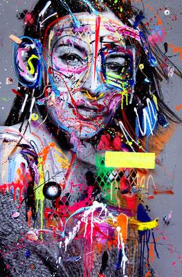 MARC JUNG X MARCO FISCHER  // Jeannine Michaelsen MAULTASCHENLOLITA, 2017, mixed media on canvas, 115x75cm