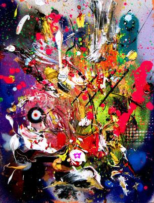 WHITE FERRARI, 2016, mixed media on canvas, 40x30cm