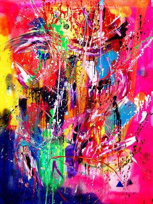 HUNGER HABEN BEIDE NICHT ABER HUMMER IST IHR LEIBGERICHT, 2018, mixed media on canvas, 120x90cm