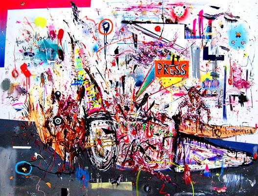 ICH HABE GHETTOABITUR GUCK AUF DAS ARMUTSZEUGNIS, 2015, mixed media on canvas, 150x200cm