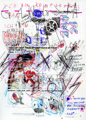 HERR NACHBAR, 2012, mixed media on paper, 29,7x21cm
