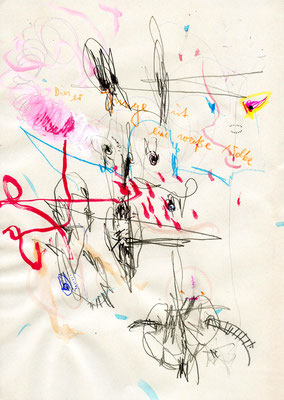 MACH ENDLICH AUF LENNY, 2011, mixed media on paper, 29,7x21cm