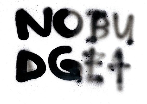 NO BUDGET 1, 2013, mixed media on paper, 29,7x21cm