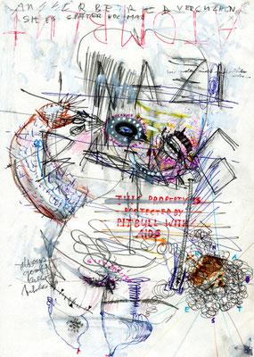 LUST UND LAUNE BABYKURZHAARDACKEL HATTE FUNKTIONSTUECHTIGE BOMBE, 2012, mixed media on paper, 29,7x21cm