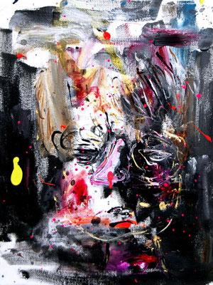 PASSIV AGGRESSIV REINEMACHEN, 2016, mixed media on canvas, 30x20cm