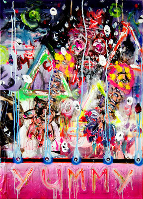 SCHWUL UND HART, 2011, mixed media on canvas, 70x50cm