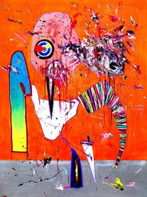 BOAH DU HÄSSLICHER, mixed media on print on canvas, 2016, 200x150cm