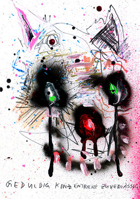 DEINE MUTTER IST DEIN VATER, 2015, mixed media on paper, 29,7x21cm