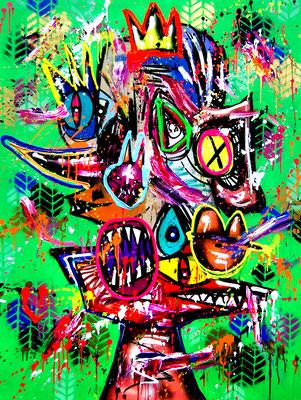 HOOD PETER PAN, 2019, mixed media on canvas 120x90cm