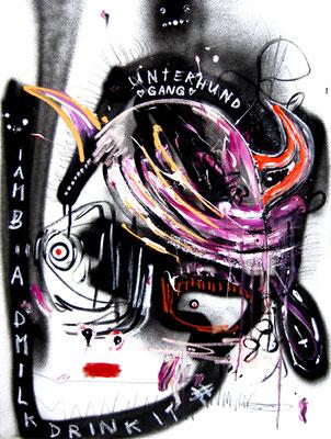 ARIGATO CUTE CERBERUS I, 2014, mixed media on canvas, 80x60cm