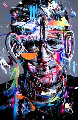 MARC JUNG X MARCO FISCHER // Maeckes ALBTRAUM ALLER SPIELERFRAUEN, 2017, mixed media on canvas, 115x75cm