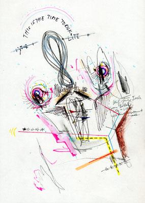 JUHU BAUMEISTER IST TOT AUF ZU OBI, 2012, mixed media on paper, 29,7x21cm