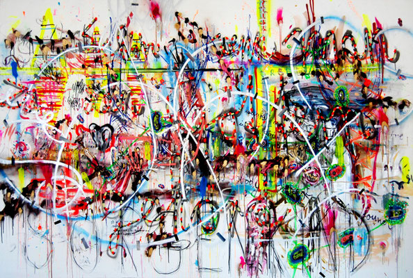 I HEARD THEY BUILT A NEW RACE NOW, 2011, midex media on canvas, 200x300cm