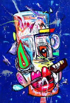SOZIALE INTERAKTION MIT EUCH IST ALS HÄTTE ICH ASPERGER, 2018, mixed media on canvas, 150x100cm