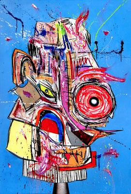 LADYKILLER SO WIE OJ, 2018, mixed media on canvas, 150x100cm