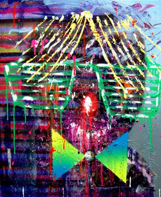 DROHNENINSPEKTEUR MR WUESTENFUCHS, 2013, mixed media on canvas, 50x40cm