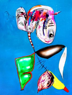 THE WALKING BLUES, 2018, mixed media on canvas, 200x150cm