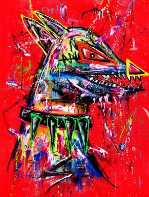 REISS DIE BEUTE NUR IM SCHATTEN, 2019, mixed media on canvas, 120x90cm
