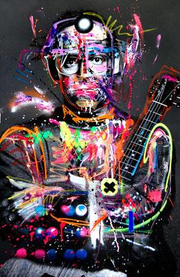 MARC JUNG X MARCO FISCHER // Bosse DER ULTRABASS, 2017, mixed media on canvas, 115x75cm
