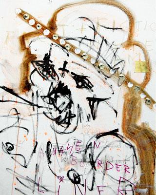 DURCHGEPEITSCHTE UND RIESEN I, 2011 mixed media on canvas, 50x40cm
