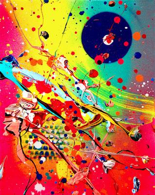 BIPOLAR GANG, 2019, mixed media on canvas, 30x24cm