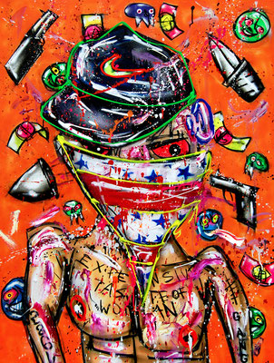 BEVERLY KILL BILLY, 2018, mixed media on canvas, 120x90cm