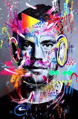 MARC JUNG X MARCO FISCHER // Manuel Neuer , THE GERMAN WALL, 2019, mixed media on canvas, 115x75cm