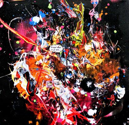 DEIN LEBEN IST WIE HITLERS DICK  FOR EVA BRAUN, 2016, mixed media on canvas, 30x30cm