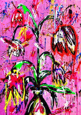 GLORIOSA LILY, 2020, mixed media on canvas, 100x70cm