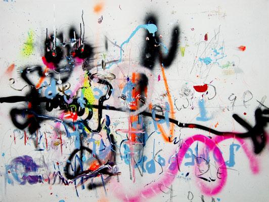 MENSCHLEUTE, 2011, mixed media on canvas, 90x120cm