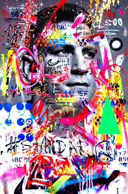 MARC JUNG X MARCO FISCHER // GZUZ 187 STRASSENBANDEBONEZ GAZOZIAL 2019, mixed media on canvas, 115x75cm