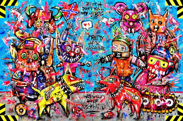 HOMEOVALOFFICE, 2021, mixed media on canvas, 200x300cm