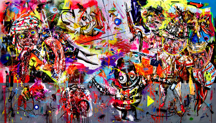 BJÖRNING DOWN THE HOUSE, 2016, mixed media on canvas, 200x360cm