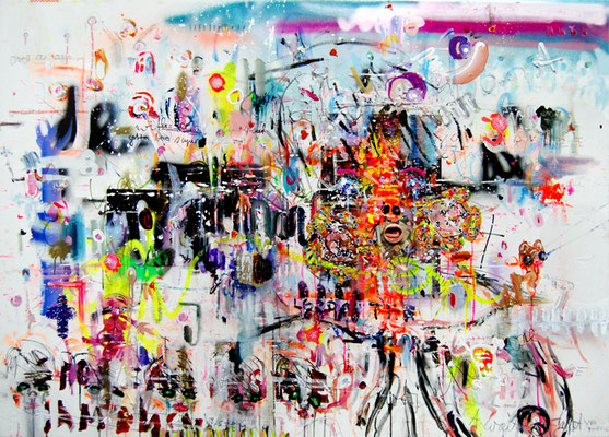 NUR MIT DER RUHE, 2010, mixed media on canvas, 100x140cm