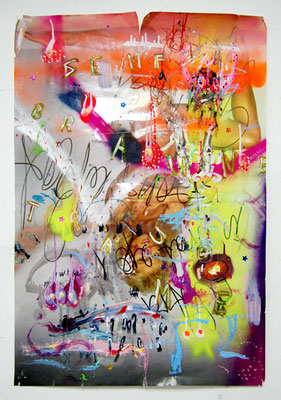 A HUSTLER BABY THAT´S WHAT MY DADDY MADE ME, 2011, mixed media on paper, 92,5x62cm