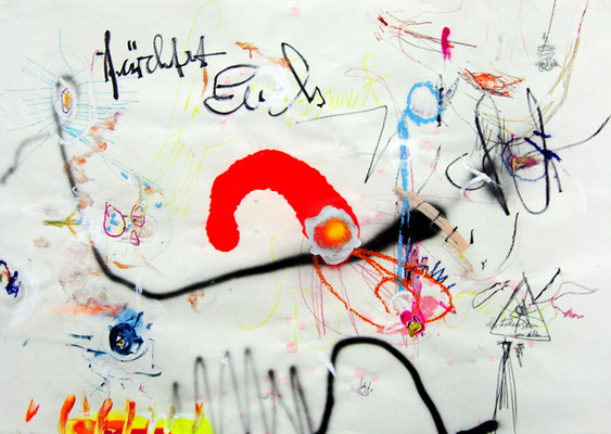 BEAT UP THE BITCHFRESSE IN SLOWMOTION, 2011, mixed media on paper, 70x90cm