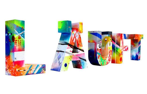 LÄUFT, 2016, mixed media on hard cardboard, 20x90x5,5cm
