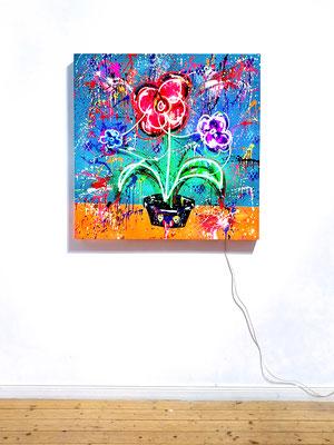 HOBBYGÄRNTER, 2021, mixed media on wood and neon light, 100x100cm