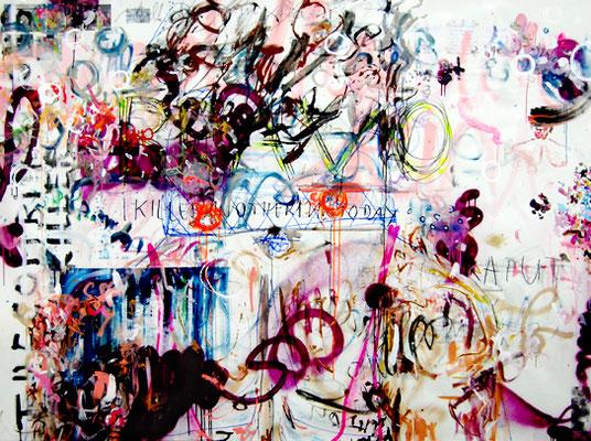 NOCH NIE IN EINER ECHTEN SCHLÄGEREI, 2010, mixed media on canvas, 150x200cm