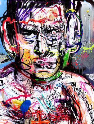 COLLABORATION WITH MARCO FISCHER // NACKT IM WOLFSPELZ, mixed media on print on canvas, 2016, 100x70cm