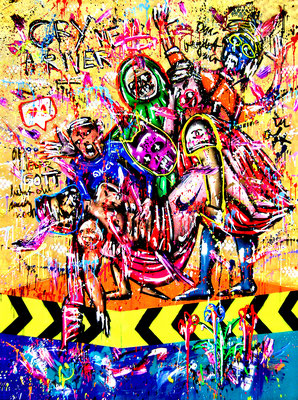 TRIPPIN, 2021, mixed media on canvas, 200x150cm (golden background)