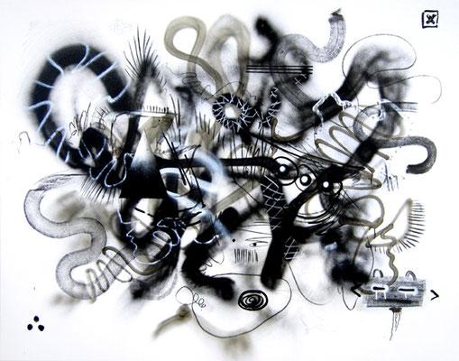 EATING ASS AUSFALLERSCHEINUNGEN, 2014, mixed media on canvas, 140x180cm